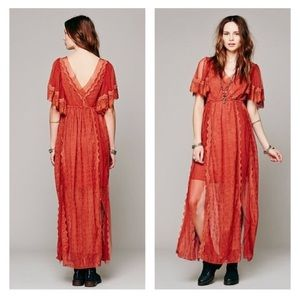 Free People Witchy Woman Lace Maxi Dress Rust XS
